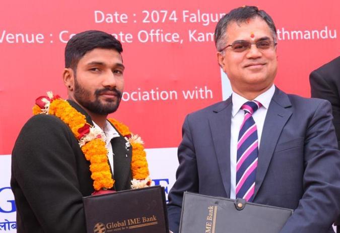 ग्लोबल आइएमई बैंकले गर्यो क्रिकेटर दिपेन्द्र सिंह ऐरीलाई प्रायोजन