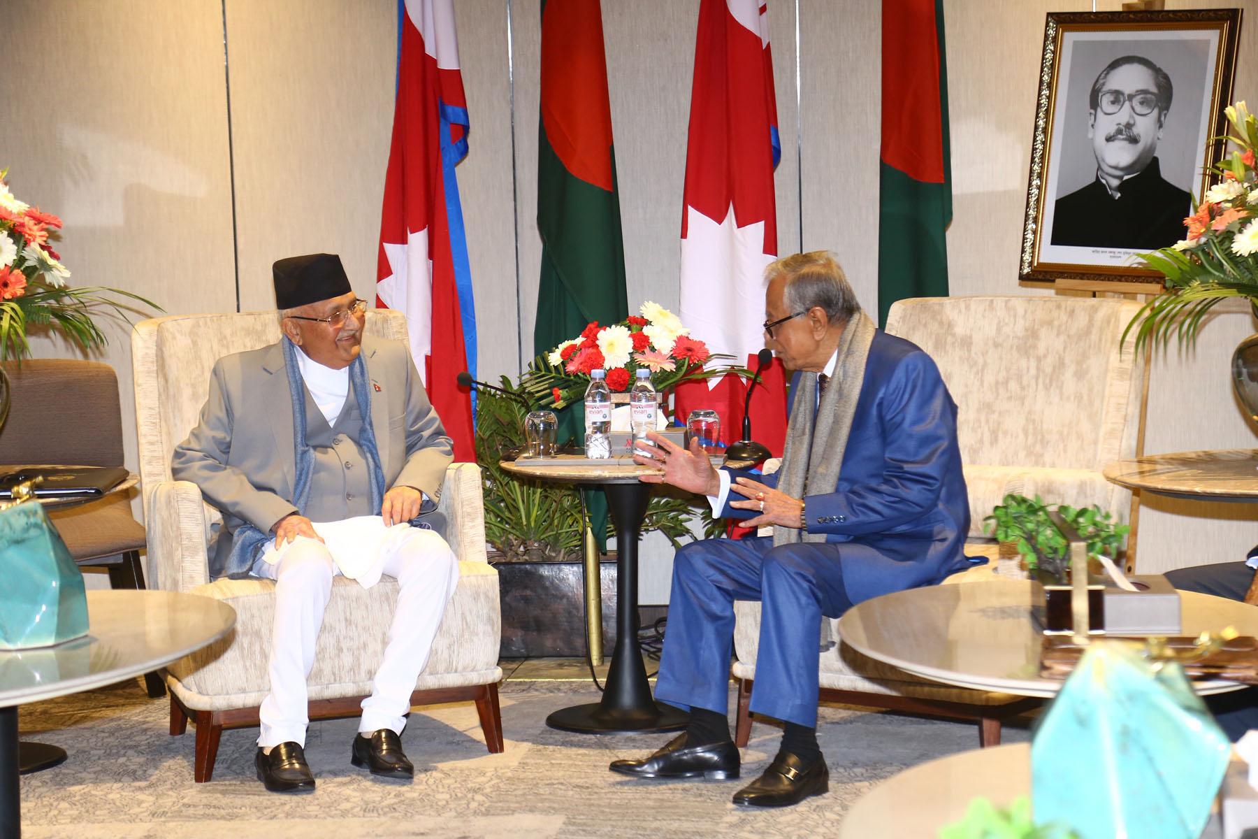 बङ्गलादेशी राष्ट्रपतिसँग उपराष्ट्रपति र प्रधानमन्त्रीको शिष्टाचार भेट, नेपालको समृद्धिमा बङ्गलादेशले सघाउने