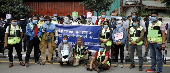 पेशागत सुरक्षाको माग गर्दै पत्रकार महासङ्घद्वारा राजधानीमा प्रदर्शन